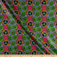 Supreme African Ankara Wax Print Fancy Gears Green/Pink