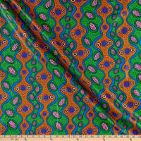 Supreme African Ankara Wax Print Fancy Gems Green/Brown
