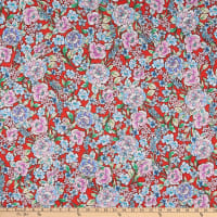 Fabtrends DTY Floral Red Peri