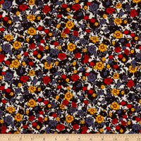 Designer Deadstock Ditsy Floral Viscose Stretch Jersey Knit Red/Yellow/Colony Blue