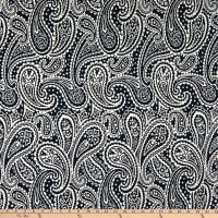 Designer Deadstock Ode To Paisley Print Rayon Stretch Knit Navy Blue/White