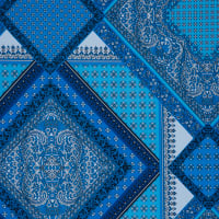 Fabtrends Ity Paisley Border Blue