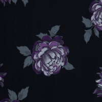 Fabtrends Ity Floral Peonies Purple Silver