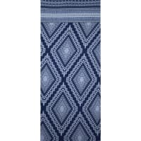 Fabtrends Ity With Puff Geometric Border Navy White