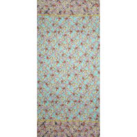 Fabtrends Ity Grid Floral Border Coco Bay Blush