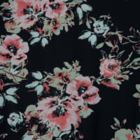 Fabtrends DTY Floral Bouquet Black Offwhite Coral