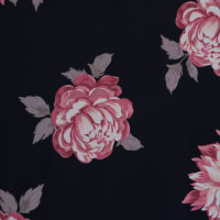 Fabtrends Ity Floral Peonies Black Rose