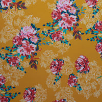 Fabtrends Dty Floral Mustard Red