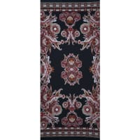 Fabtrends Ity With Puff Paisley Floral Border Black Red