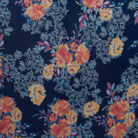 Fabtrends Washer Ghost Floral Navy Coral