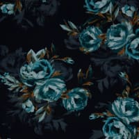 Fabtrends Scuba Crepe Floral  Black Teal Taupe