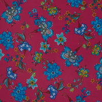 Fabtrends Washer Ghost Floral Fuschia Turq