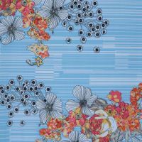 Fabtrends Ity Floral Stripe Sky Gold