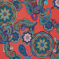 Fabtrends Ity With Puff Paisley Coral Aqua