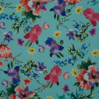 Fabtrends Digital Scuba Crepe Floral Light Cyan