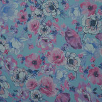 Fabtrends Textured Woven Galiano Floral Sky Turq