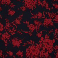 Fabtrends Scuba Crepe Floral Red Black
