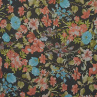 Fabtrends Hi Multi Chiffon All Over Floral Black Rust