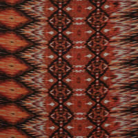 Fabtrends Wool Dobby Ethnic Biadere Ikat Brown Rust