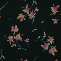 Fabtrends Wool Dobby Chiffon Floral Bouquet Black Pink