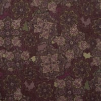Fabtrends Sweater Knit With lurex Paisley Floral Plum Wine