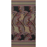 Fabtrends Ity Paisley  Double Border Olive Rose