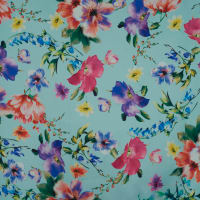 Fabtrends Digital Mikado Floral Light Cyan