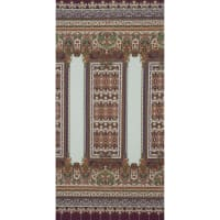 Fabtrends Ity Engineered  Foulard Double Border Plum/Gold
