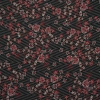 Fabtrends Jacquard Textured Chiffon  Floral Black Red