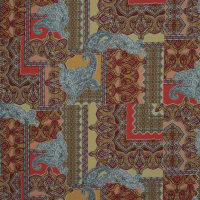 Fabtrends Ity Paisley Tiles Coral