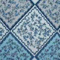 Fabtrends Ity Geometric  Quilt  Floral Blue Ivory