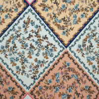 Fabtrends Ity Geometric  Quilt  Floral Peach Blue