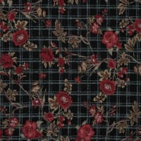 Fabtrends Ity Plaid Floral Black Red Beige