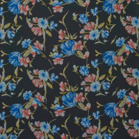 Fabtrends Wool Dobby Chiffon Floral Blue Red