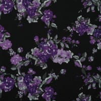 Fabtrends Scuba Crepe Floral Black Purple Grey