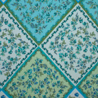 Fabtrends Ity Geometric  Quilt  Floral Teal Blue