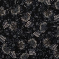 Fabtrends Washer Ghost Paisley Bouquet Black Grey