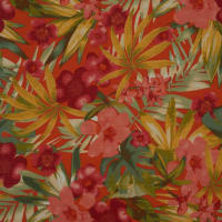 Fabtrends Lily Rib Knit Tropical Floral Burnt Orange Gold