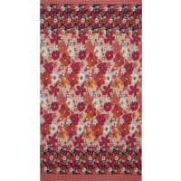 Fabtrends Ity Floral Plaid Border Red Peach