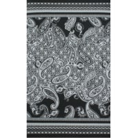 Fabtrends Ity Border Paisley Floral Black White