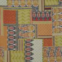 Fabtrends Wool Dobby Paisley Patchwork Red Olive