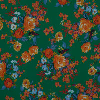 Fabtrends Ity Floral Green Orange Pink