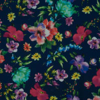 Fabtrends Digital Scuba Crepe Floral Navy Multi