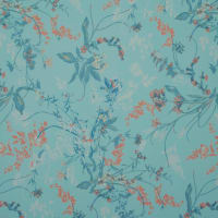 Fabtrends Hi Multi Chiffon Floral On Branches Aqua Coral