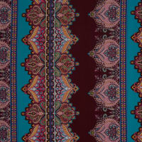 Fabtrends Ity Paisley Stripe Wine Teal