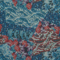 Fabtrends Hi Multi Chiffon Paisey Floral Blue Red