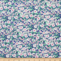 Telio Charm Cotton Voile Botanical Print Blue