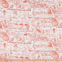 Lacefield Designs Christmas Christmas Script Linen Red