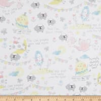 Fabric Editions Playful Cuties 2 Tea Party 1 Yard Flannel Precut White
