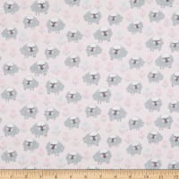 Fabric Editions Playful Cuties 2 Sheep 1 Yard Flannel Precut Pink
